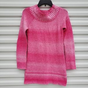 Justice pink sweater dress with sequins at neck